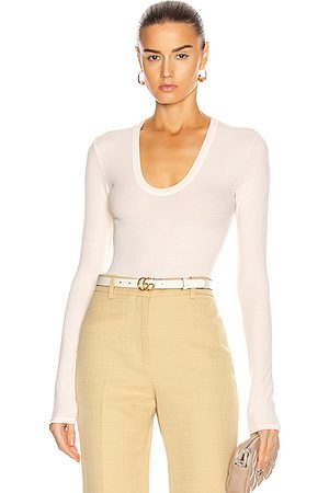 ENZA COSTA For FWRD Silk Rib Fitted Long Sleeve U Top in Natural