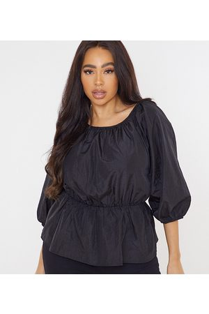 Missguided Poplin top with ruched detail in