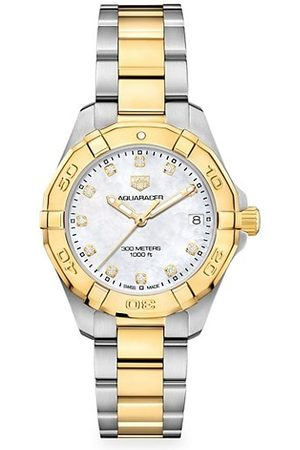 Tag Heuer Watches - Aquaracer 32MM Stainless Steel, Yellow Goldplated, Diamond & Mother-of-Pearl Quartz Bracelet Watch