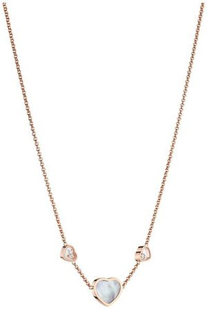Chopard Happy Hearts 18K Rose , Mother-Of-Pearl & Diamond Necklace