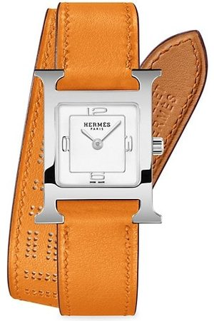 Hermès Heure H 21MM Stainless Steel & Leather Double-Wrap Strap Watch