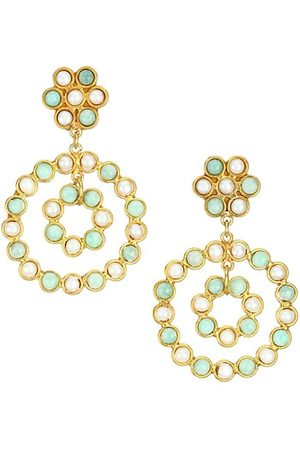 Sylvia Toledano Flower Candies 22K Goldplated & Multi-Stone Clip-On Drop Earrings