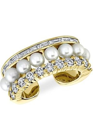 Anita 18K Yellow Gold, Diamond & Faux Pearl Ear Cuff