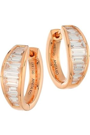 Anita 18K Rose & Diamond Baguette Graduated Huggie Hoop Earrings