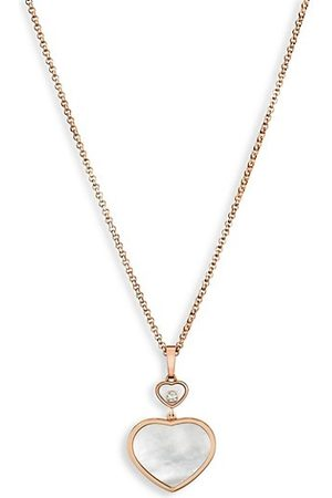 Chopard Happy Hearts 18K Rose , Diamond & Mother-Of-Pearl Pendant Necklace