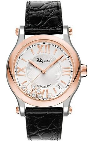 Chopard Watches - Happy Sport 18K Rose , Stainless Steel, Diamond & Leather-Strap Watch