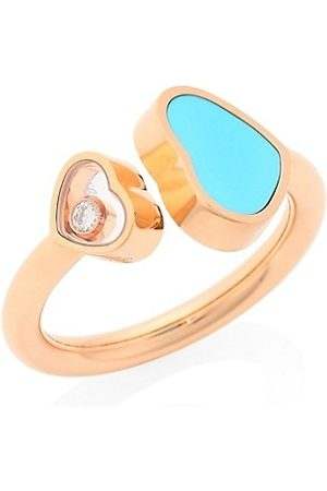 Chopard Happy Hearts 18K Rose , Diamond and Turquoise Ring
