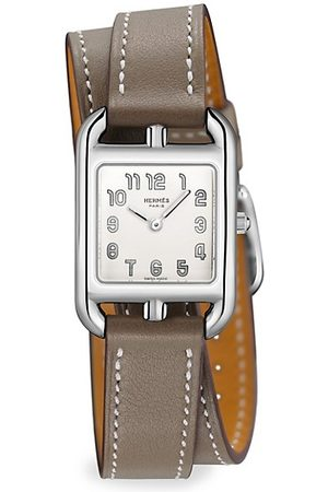 Hermès Cape Cod 23MM Stainless Steel & Leather Double-Wrap Strap Watch