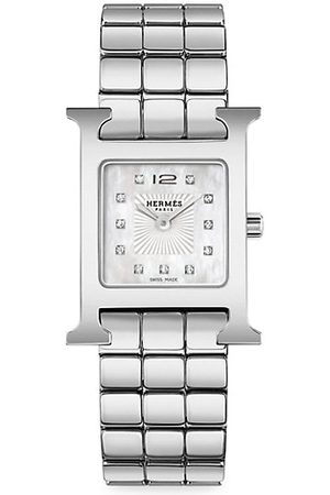 HERMÈS Heure H Diamond & Steel Bracelet Watch