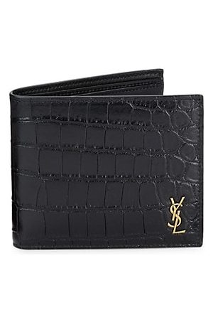 Saint Laurent Crocodile-Embossed Leather Wallet
