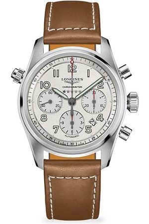 Longines Spirit Stainless Steel & Leather-Strap Chronograph Watch
