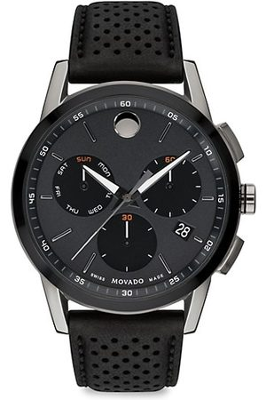 Movado Musuem Sport Gunmetal Stainless Steel Leather-Strap Chronograph Watch