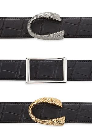 Corthay Men Belts - Patent Crocodile, Python, French Calf, Suede and Patent leather Belt Strap