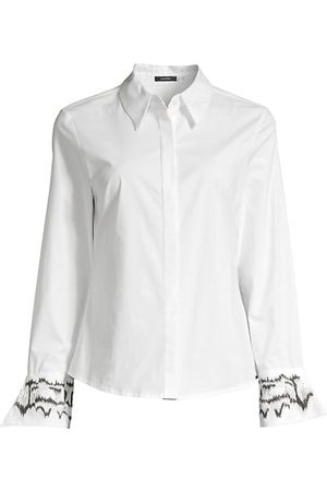 Natori Embroidered Cuff Poplin Button Down Tunic