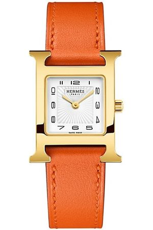 Hermès Heure H 23MM Goldplated & Leather Strap Watch