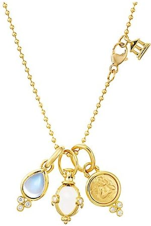 Temple St. Clair Rock Crystal, Moonstone, Diamond & 18K Yellow Charm Necklace
