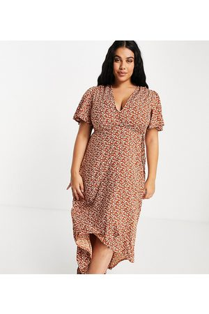 Missguided Midi wrap dress with high low hem in rust