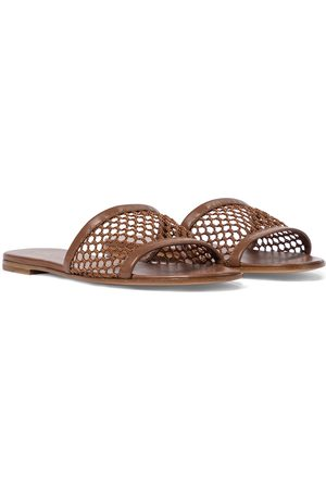 Gianvito Rossi Jamaica leather-trimmed slides