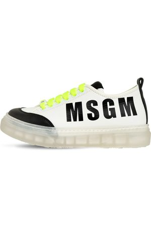 Msgm Leather Lace-up Sneakers W/ Logo