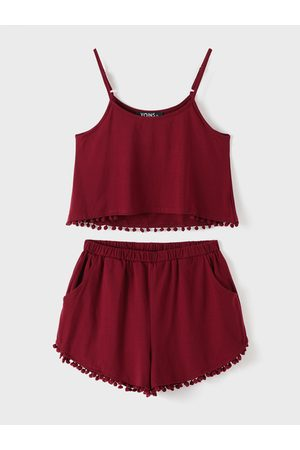YOINS BASICS Burgundy Casual Sport Sleeveless Top and Elastic Waist Short Co-ord with Pom Pom Details