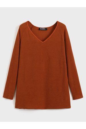 YOINS BASICS Sexy V Neck Long Sleeves Knitted T-shirt