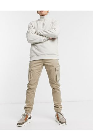 Only & Sons Cuffed cargo trousers in slim fit stone