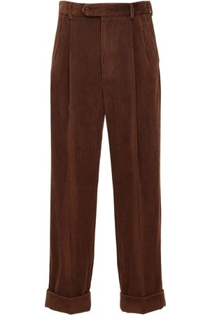 Gucci Leather Patch Corduroy Pants