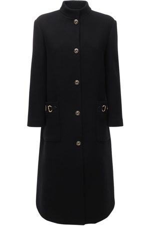 Gucci Wool Blend Coat W/ Leather Detail