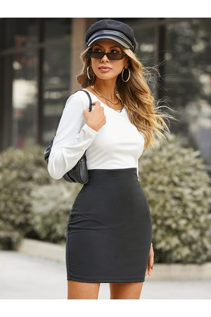 YOINS Round neck Patchwork Long sleeves Dress