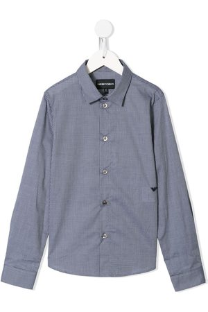 Emporio Armani Check-print embroidered-logo shirt