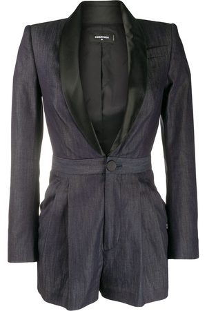 Dsquared2 Satin lapel denim playsuit