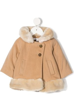 Chloé Faux fur-trim knitted coat