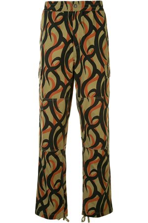 Ports V Abstract-print straight-leg trousers
