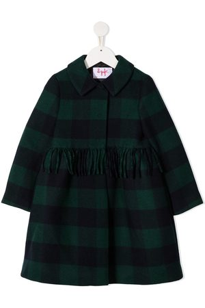 Il gufo Tartan wool coat with skirt