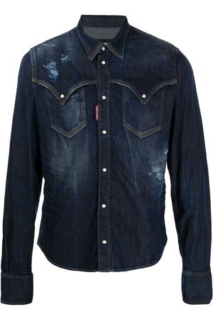 Dsquared2 Distressed buttoned denim shirt