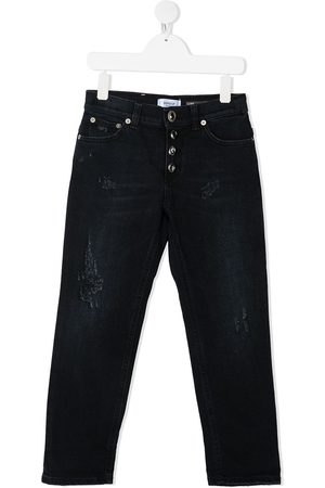 Dondup TEEN ripped-detail straight-leg jeans