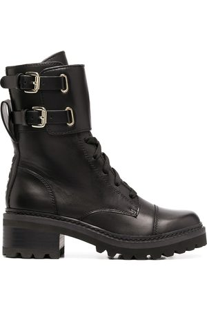 DKNY Lace-up side buckle boots