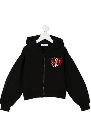 Msgm Sequin heart cotton hoodie