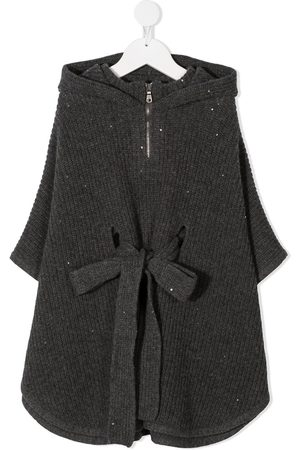 Brunello Cucinelli Belted knitted poncho