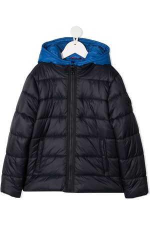 FAY KIDS Two-tone hooded zip-up jacket