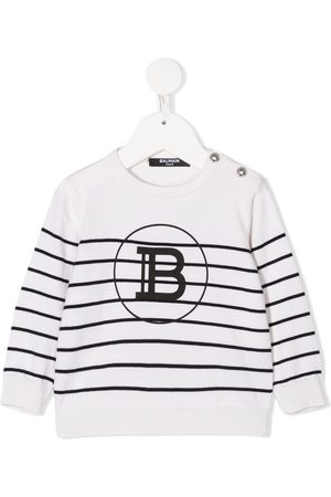 Balmain Stripe knitted logo jumper