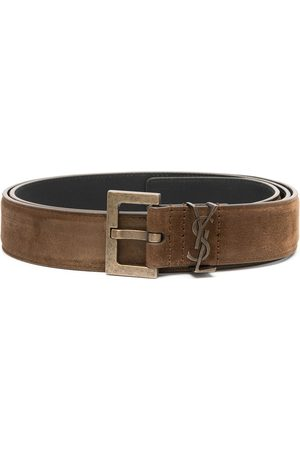 Saint Laurent Square-buckle logo belt