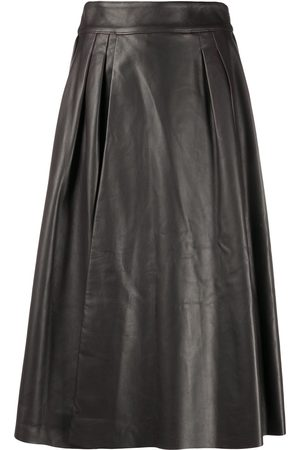 Dolce & Gabbana Pleat-detail leather skirt