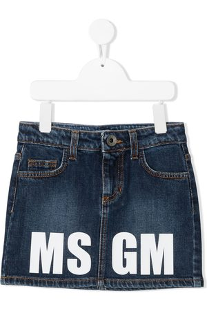 Msgm Logo-print denim skirt