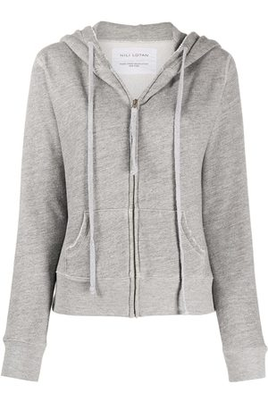 NILI LOTAN Distressed zipped front hoodie