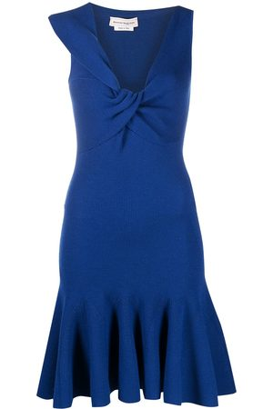 Alexander McQueen Knotted asymmetric neckline dress