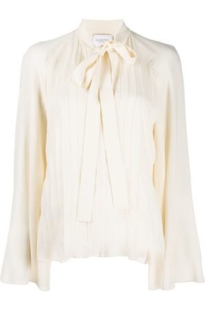 Giambattista Valli Pussy-bow shift silk blouse