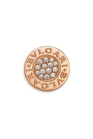 Bvlgari Classic 18K Rose & Diamond Single Round Stud Earring