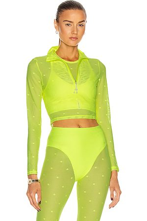 Adam Selman Sport Long Sleeve Crop Top in Neon