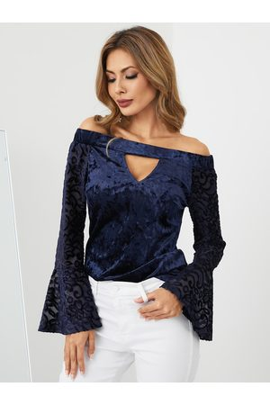 YOINS Women Strapless Tops - Navy Off Shoulder Cut Out Bell Sleeves Elastic Top
